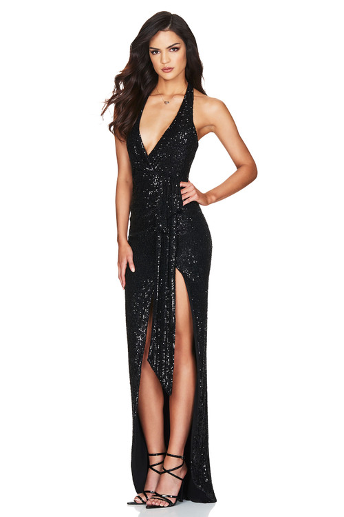 SELENA HALTER GOWN BLACK - NOOKIE