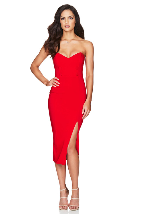 BELLA STRAPLESS MIDI RED - NOOKIE
