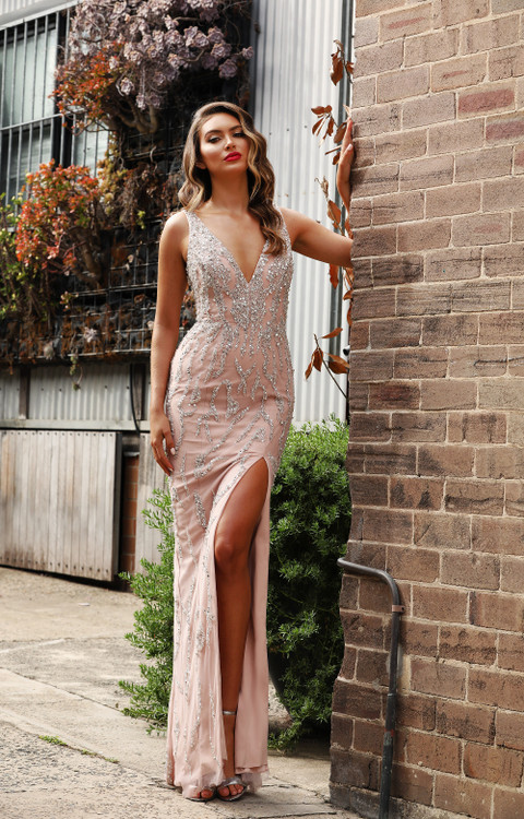 ARIA GOWN DUSTY PINK - JADORE -JX3035