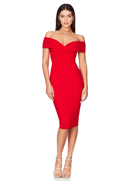NEPTUNE OFF SHOULDER RED MIDI - NOOKIE