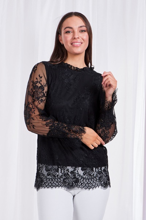 CASEY LACE BLACK TOP T506150