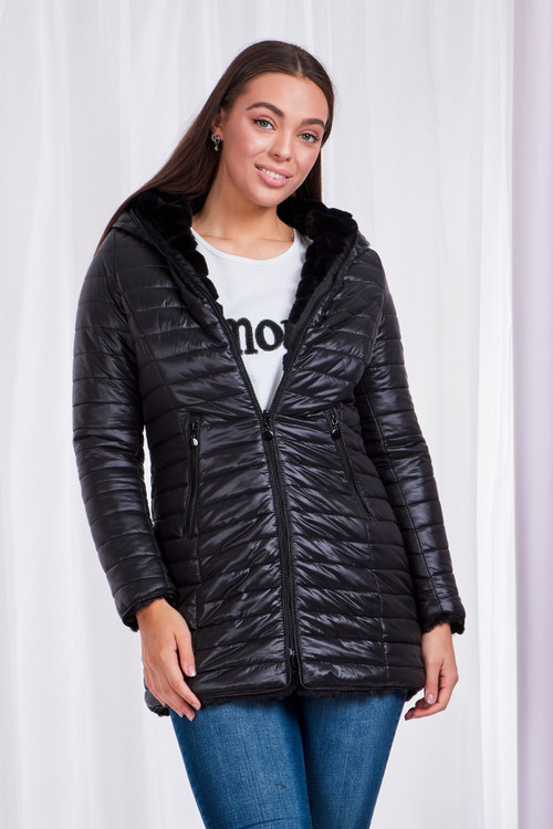 FAUX FUR REVERSIBLE PUFFER