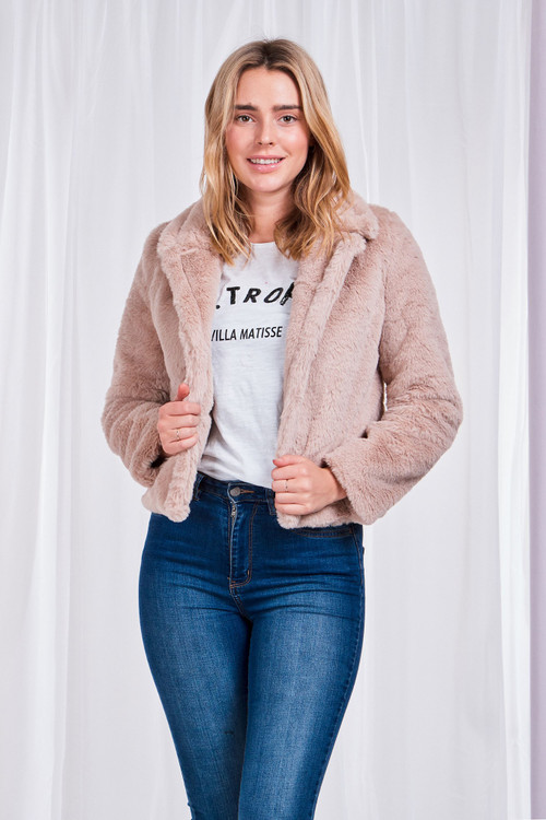 BEIGE FAUX FUR JACKET
