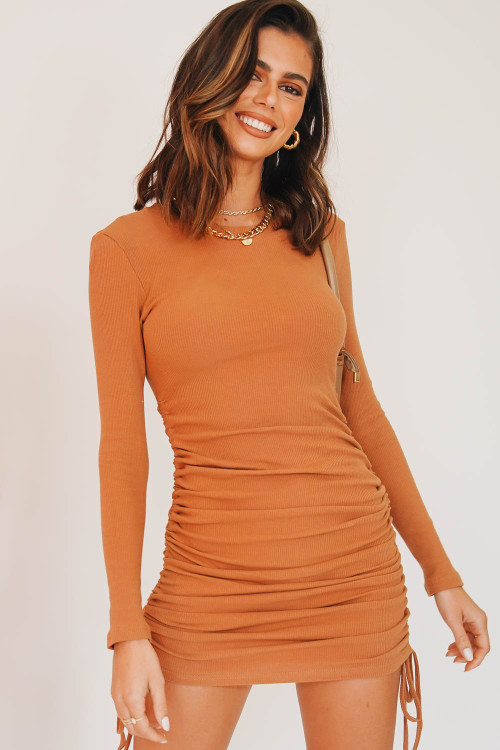 TAN SIDE RUCHED DRESS