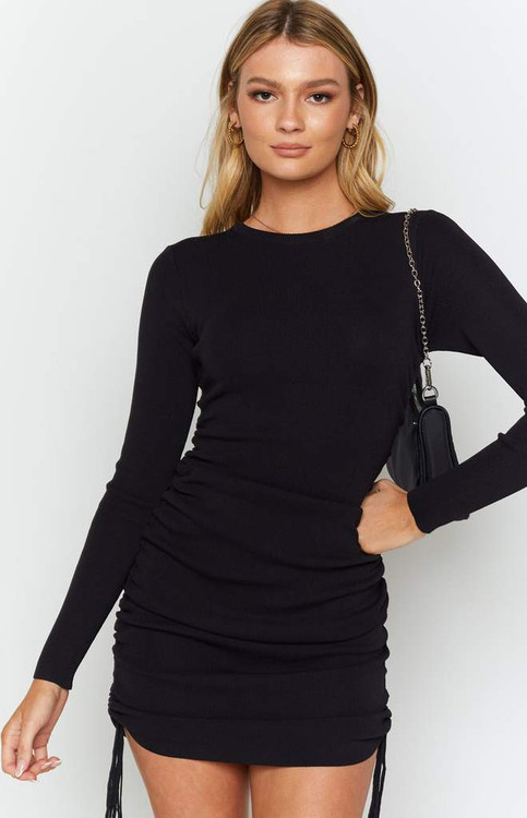 BLACK SIDE RUCHED DRESS
