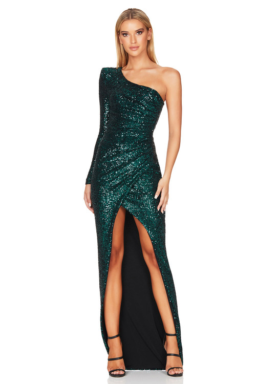 SIERRA SEQUIN GOWN EMERALD - NOOKIE