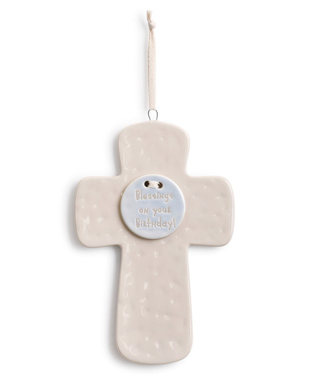 """Blue """"Blessings On Your Birthday"""" Cross"""
