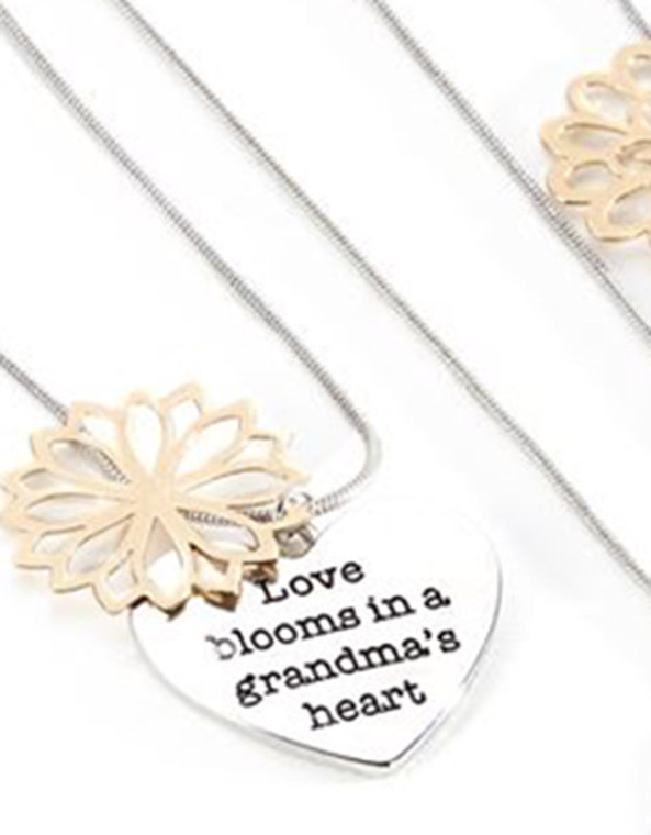 Grandma Floral and Heart Necklace
