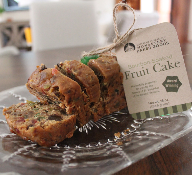 Monastery made Bourbon-Soaked Fruit Cake, prayerfully prepared by the Sisters of St. Benedict