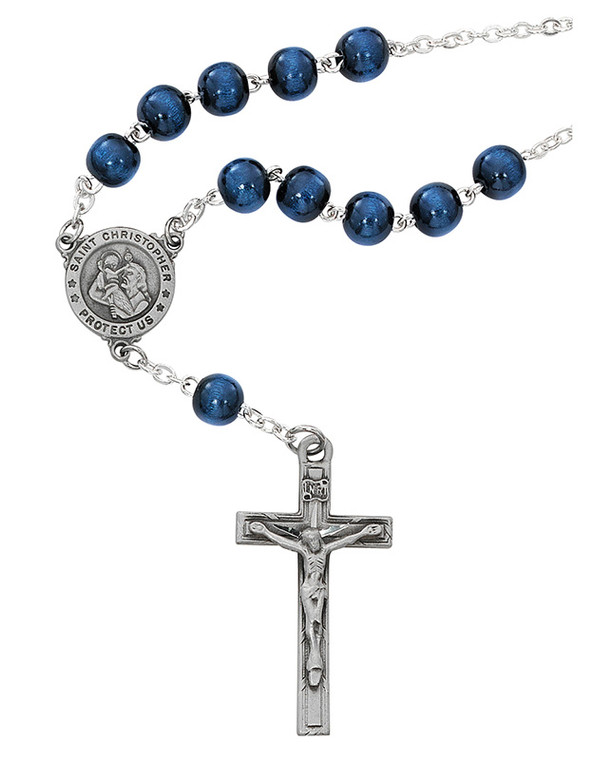 Blue Wood St. Christopher Auto Rosary