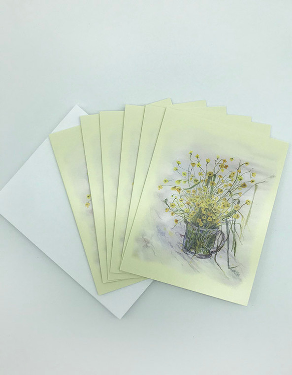 Yellow Glass Notecard Set of 6 (Artwork by Sister Mary Lee Hillenbrand)