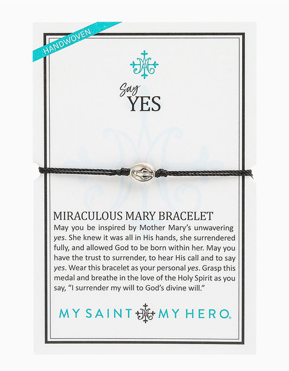 Say Yes Miraculous Mary Bracelet (Silver/Black)