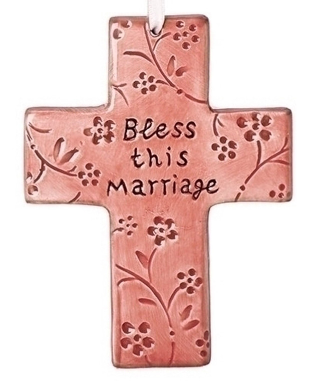Bless this Marriage Pink Cross