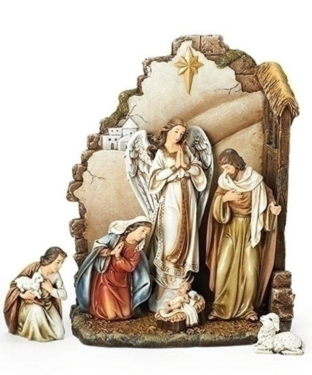 7-pc Nativity with Back Wall and Star