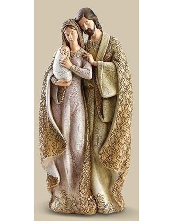 Holy Family Faux Wood Figure