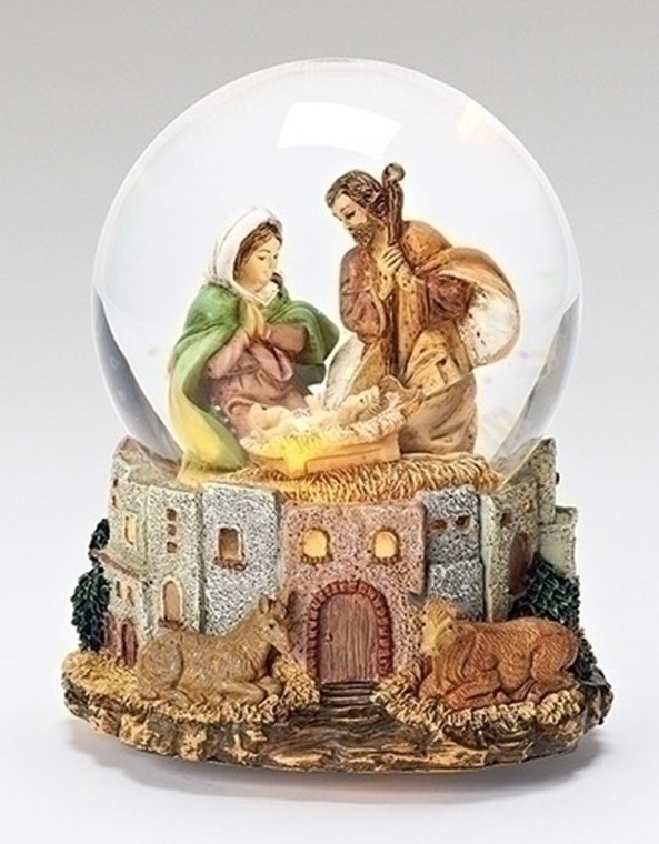 Musical Holy Family Lighted Glitterdome