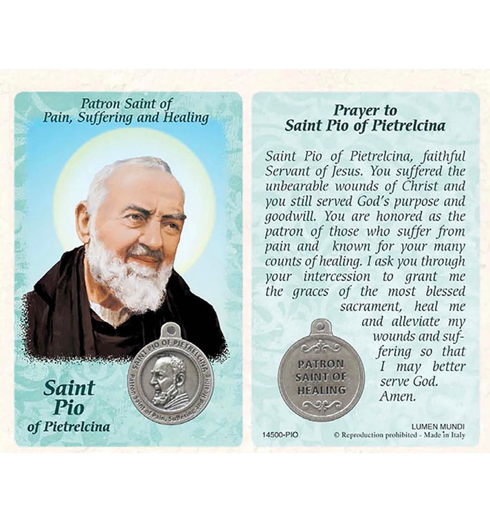 St. Pio of Pietrelcina Healing Card and Medal