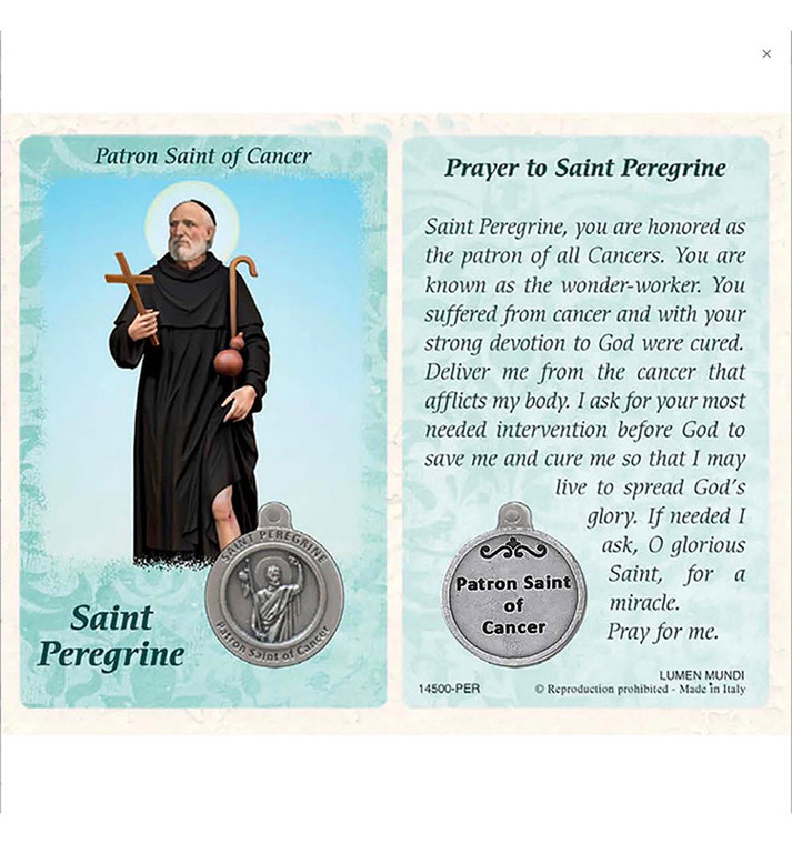 St. Peregrine Healing Card and Medal