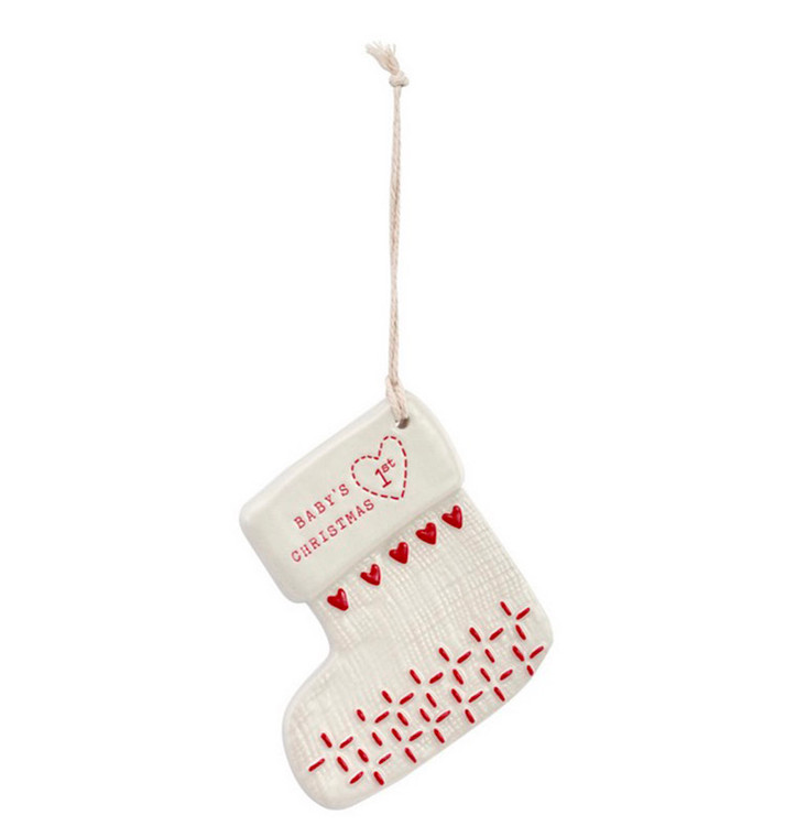 Baby's 1st Christmas Ceramic Stocking Ornament