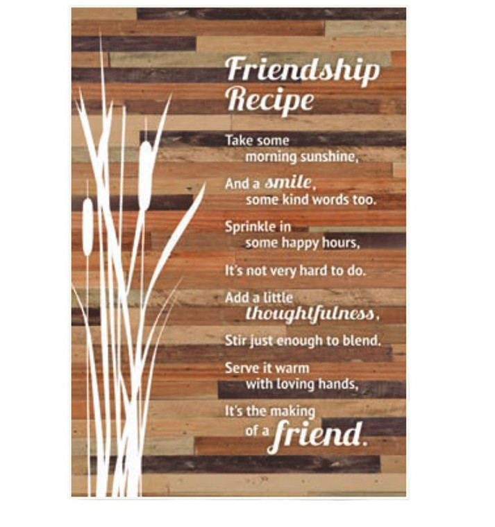 Friendship Recipe Plaque with Easel Back