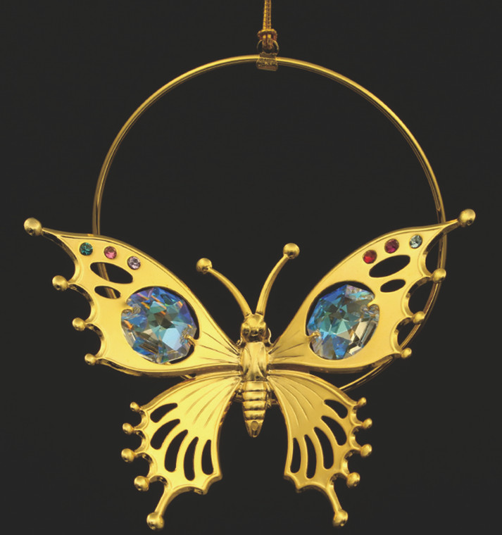 Gold Butterfly with AB Crystal