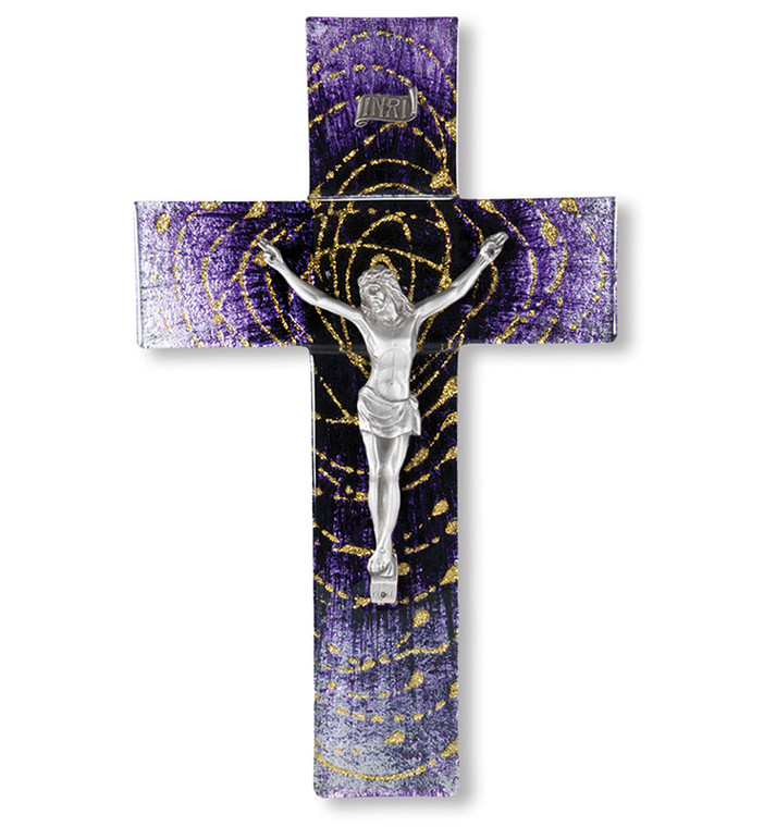Glass Cross with Pewter Corpus-Purple