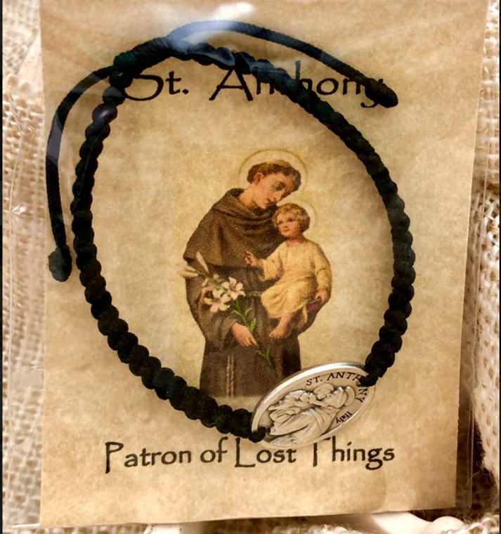 St. Anthony Corded Bracelet, Black