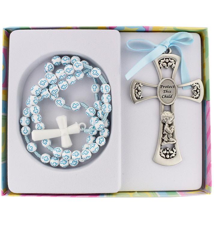 Crib Medal and Rosary Set - Blue