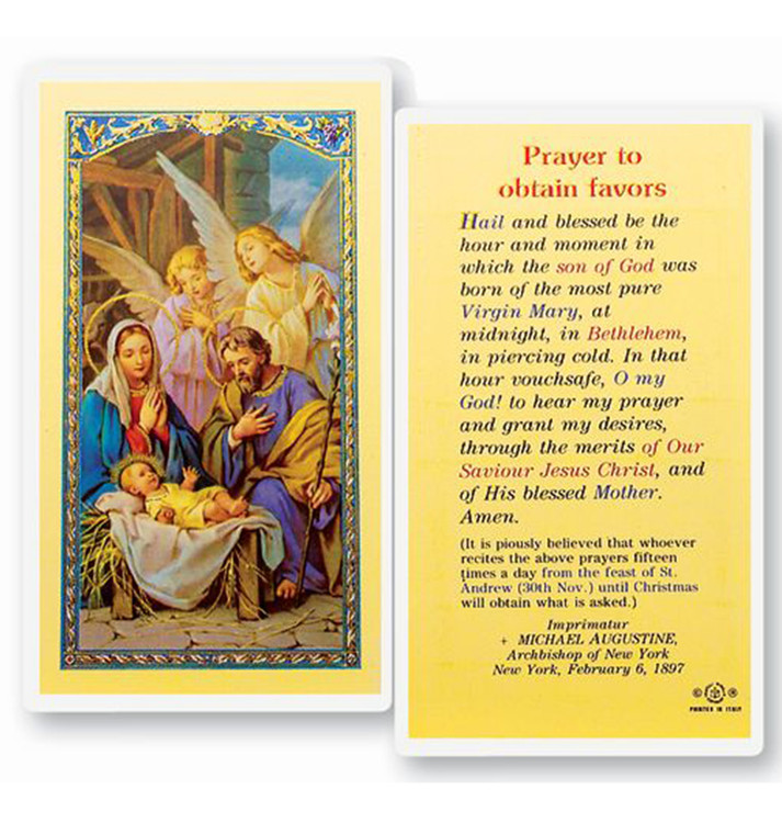 Prayer to Obtain Favors Holy Card