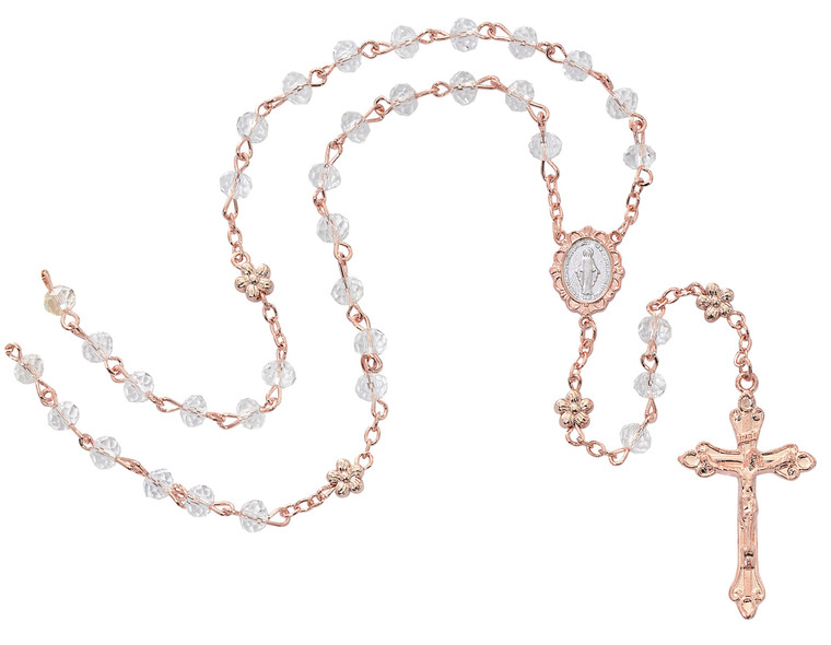 Crystal Rose Gold Rosary