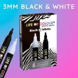Life of Colour Paint Pens - Black & White Colours (3mm Fine Tip)