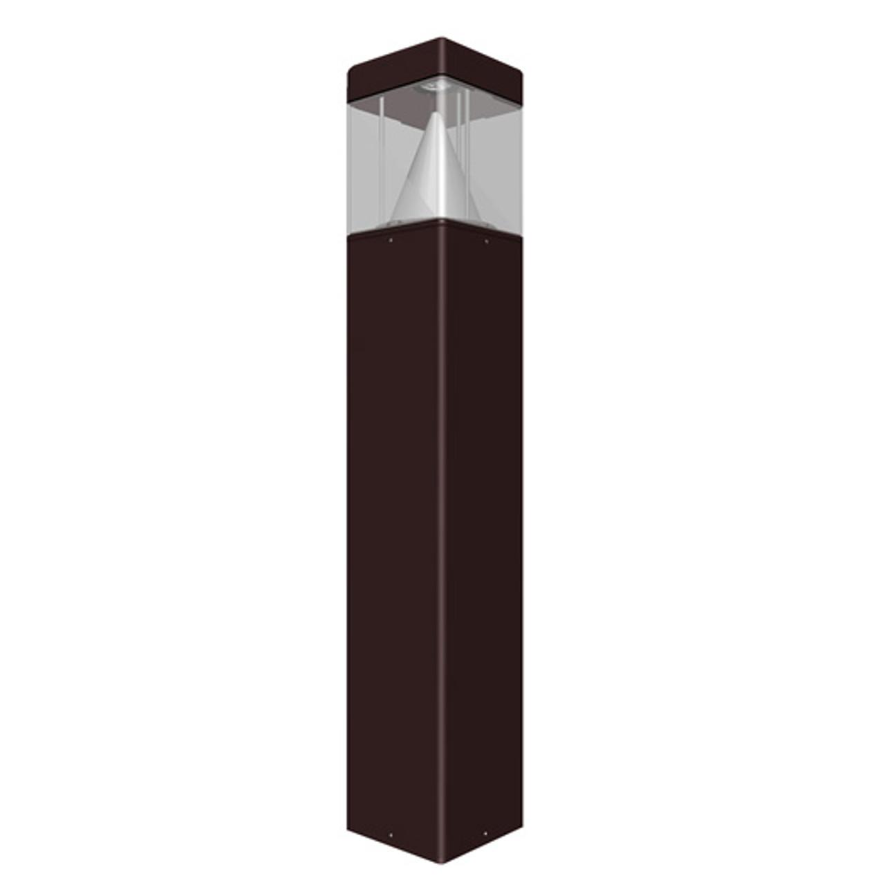Square 15 Watt LED Bollard Flat Top Cone Reflector