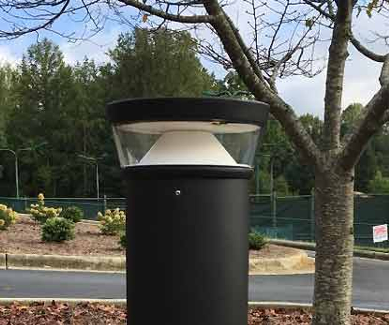 20 Watt LED Bollard Tri-Top with Cone Reflector Installed