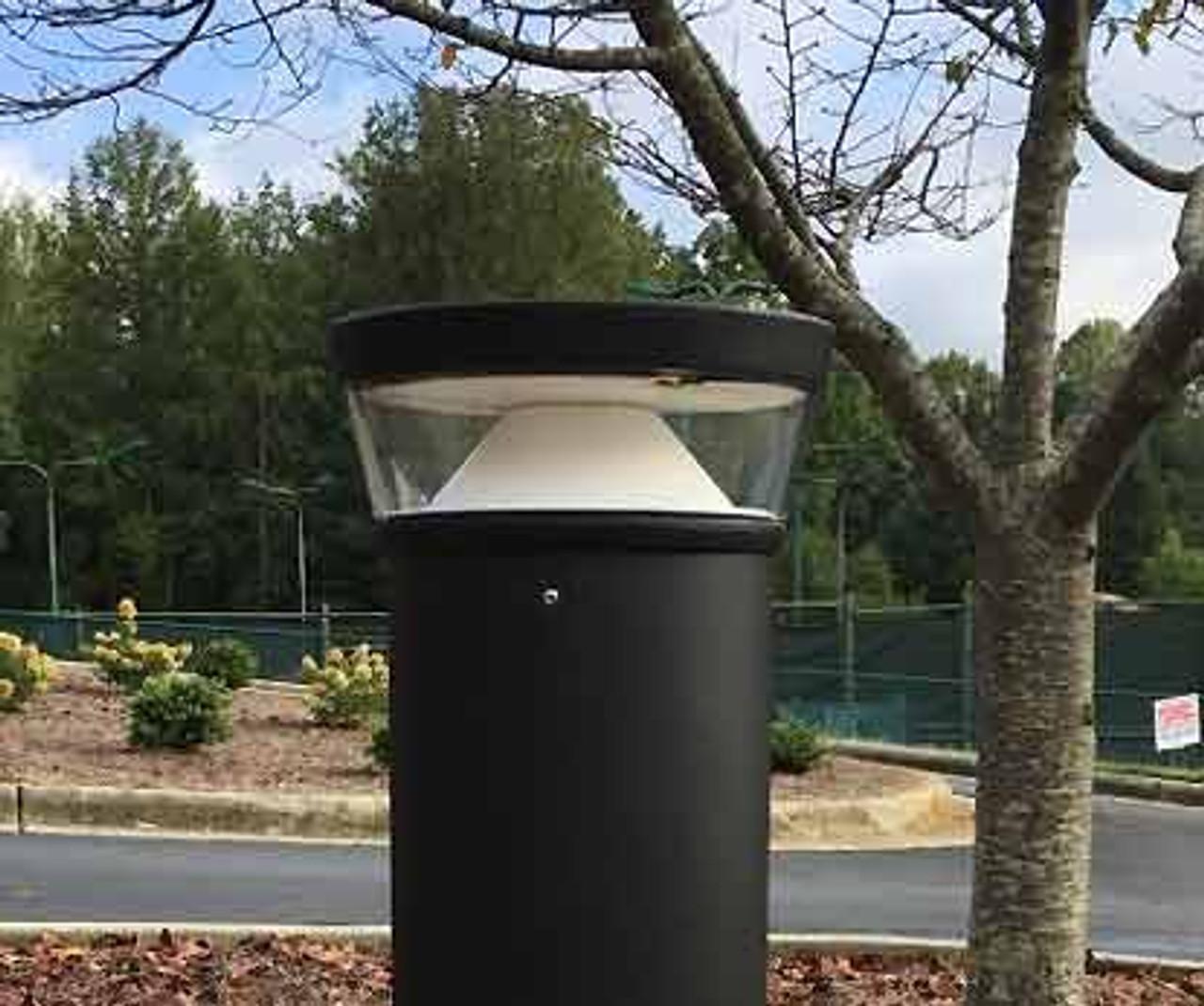 20 Watt LED Bollard Tri-Top with Cone Reflector Installed