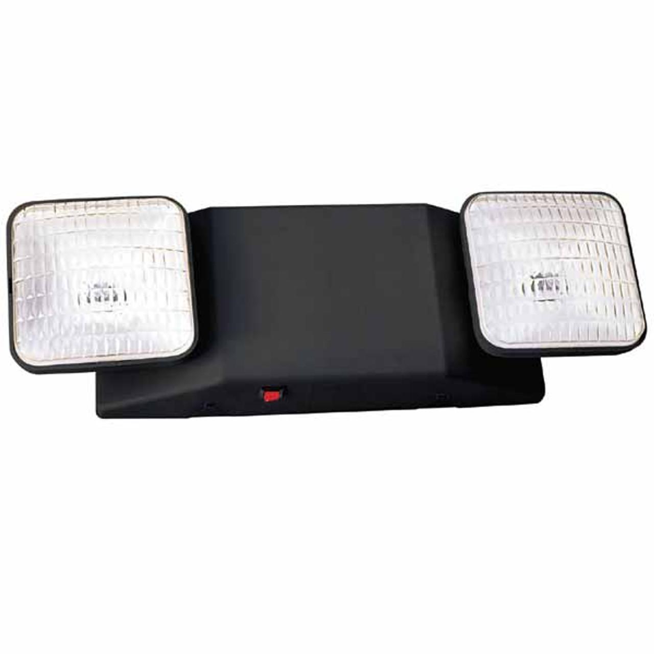2 Head Adjustable Black Emergency Light with Battery Backup
