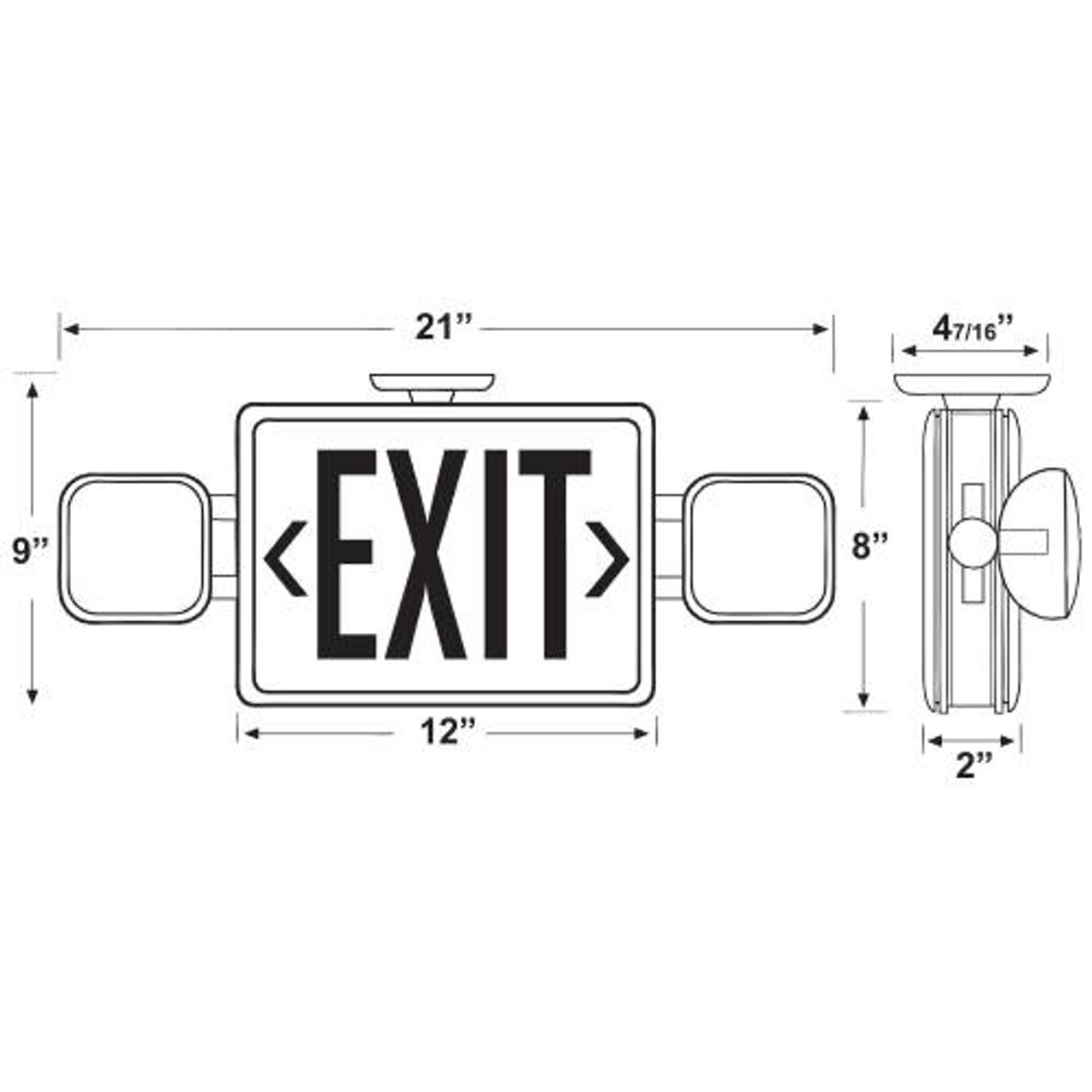 Combo LED Exit/Emergency Light Dimensions