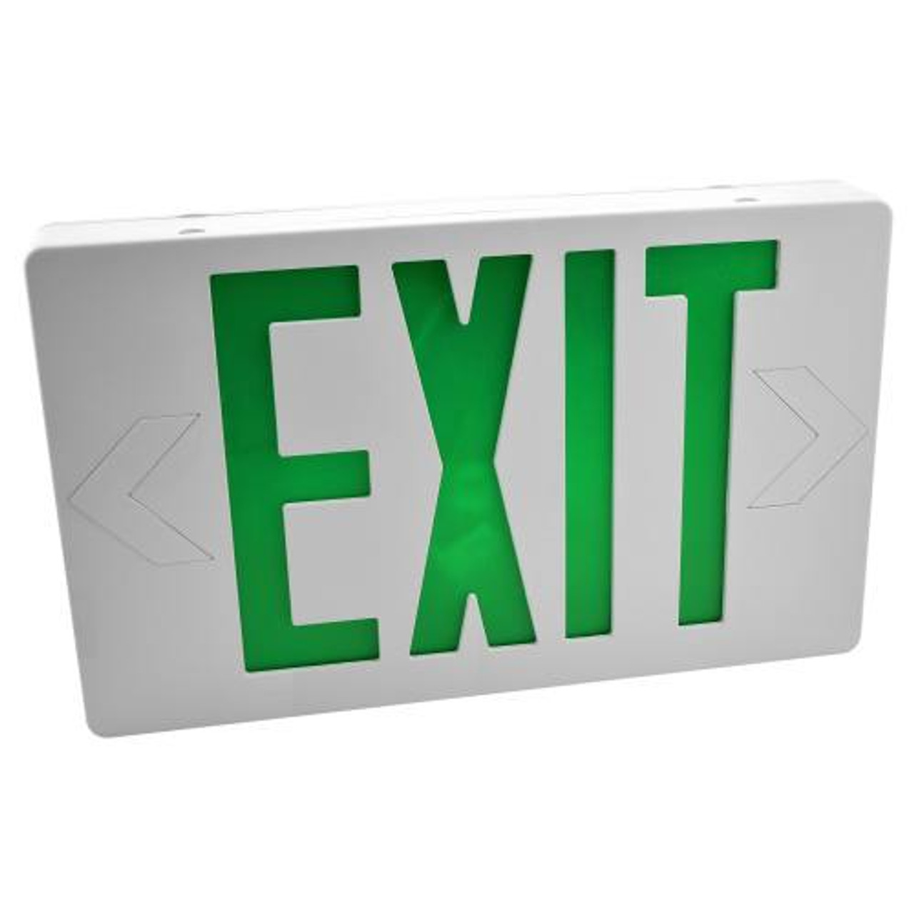 LED Exit Sign Green Letters with Battery Backup