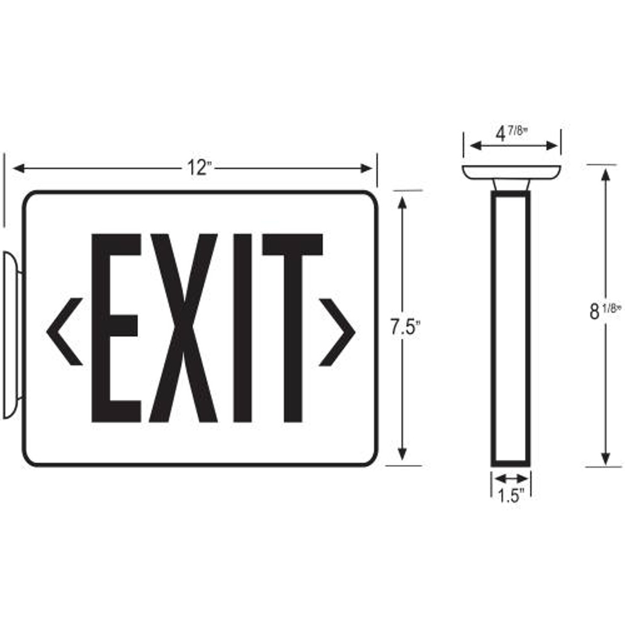 LED Exit Sign with Battery Backup Dimensions