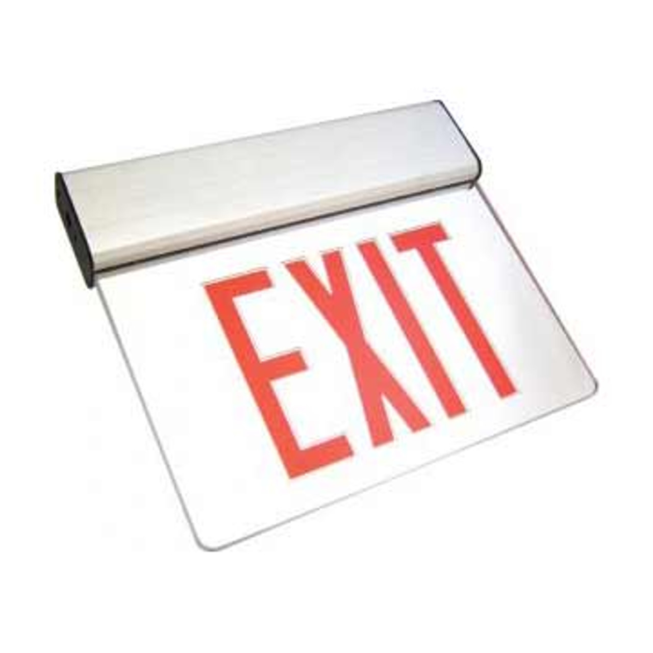 LED Edge-Lit Red Letter Exit Sign with Battery Back-up
