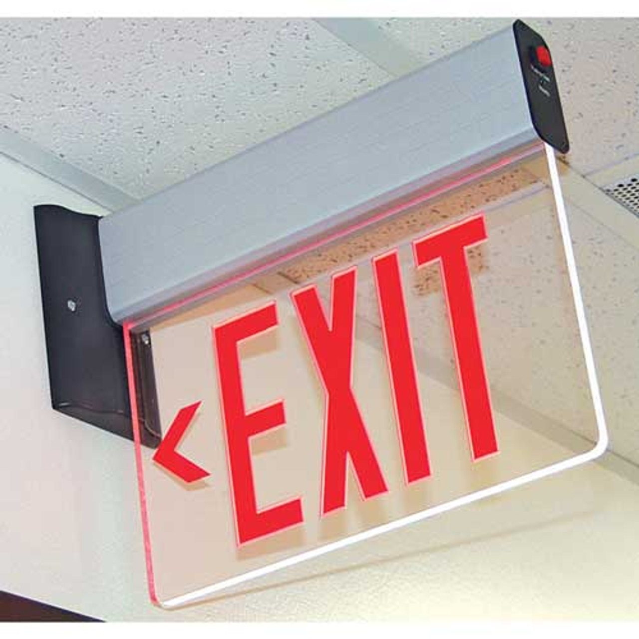 LED Edge-Lit Red Exit Sign with Battery Back-up