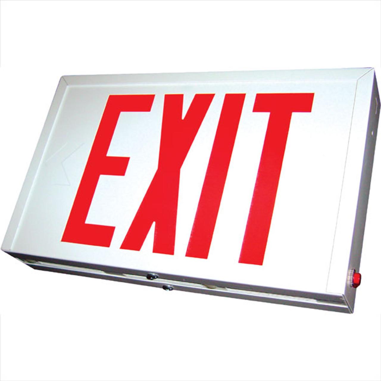 Chicago Steel Housing LED Exit Sign Battery Backup