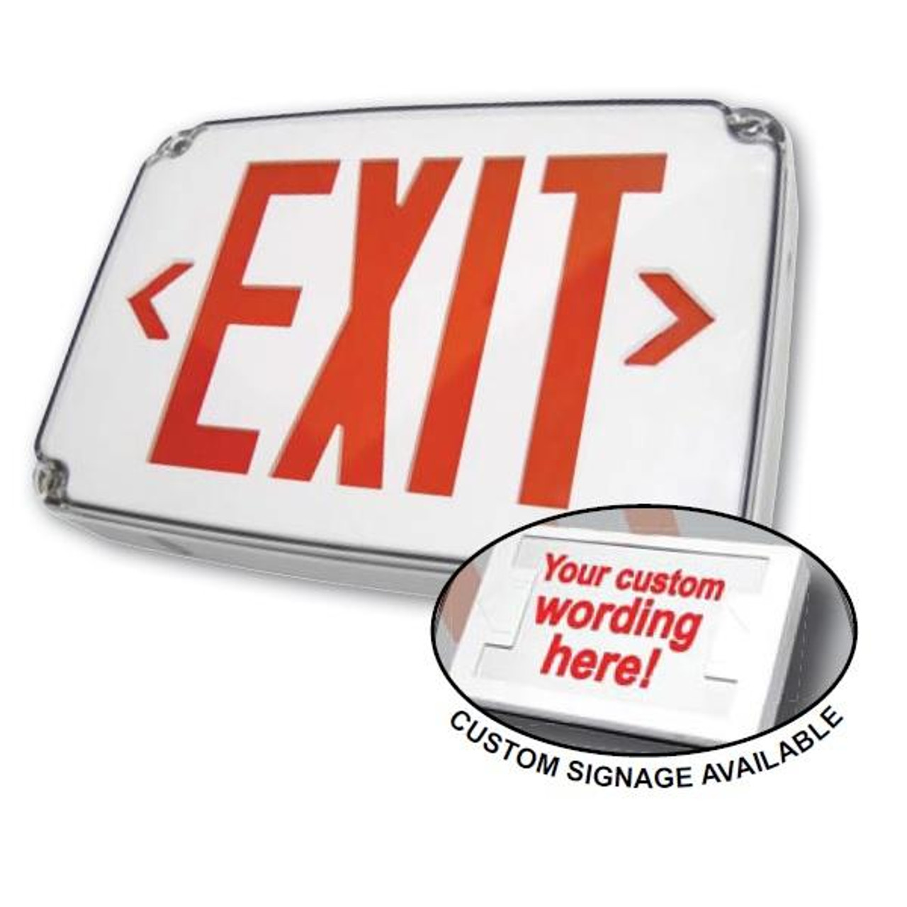 Wet Location LED Battery Backup Exit Sign Single Face