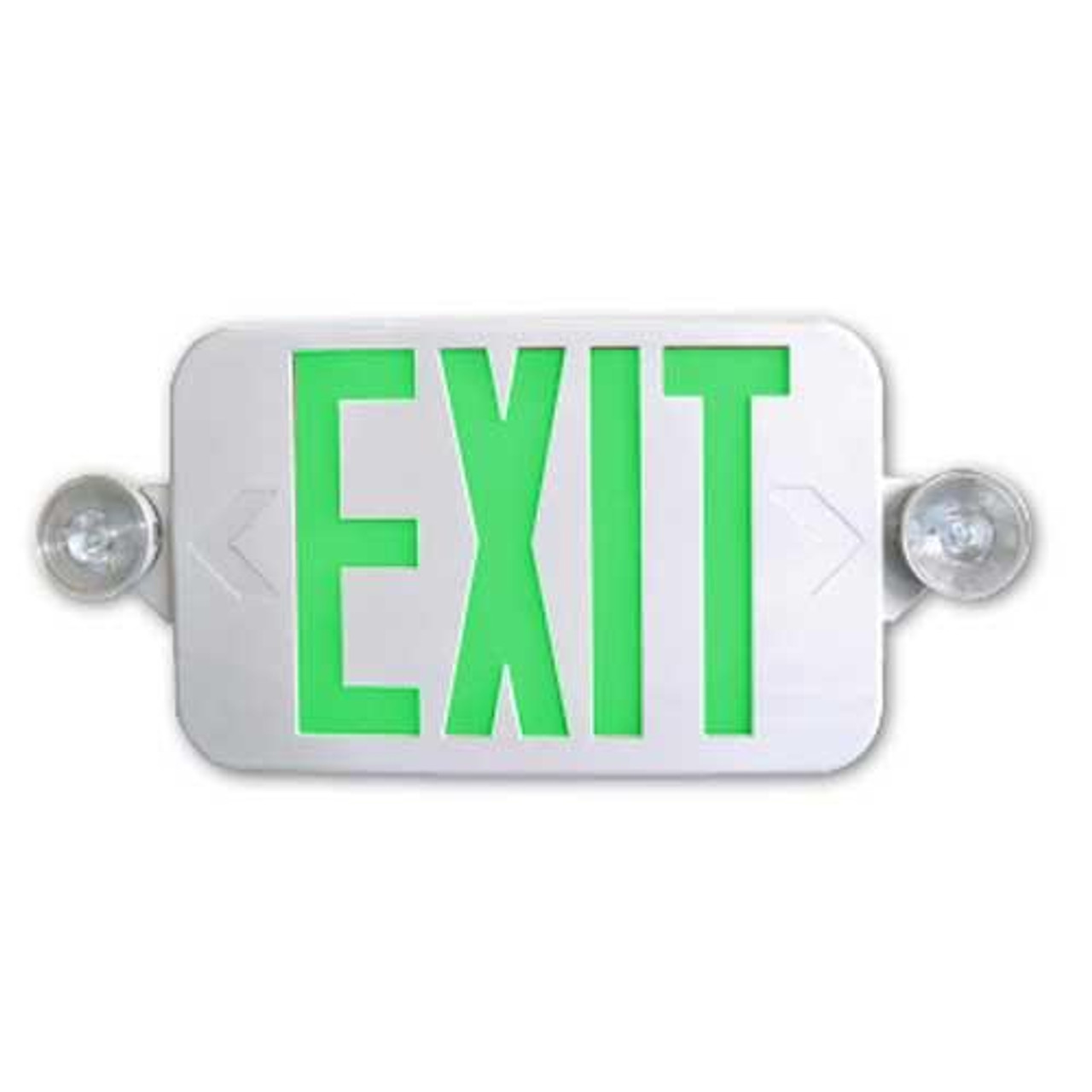 Mini Combo Exit Emergency Adjustable Heads Green Letters