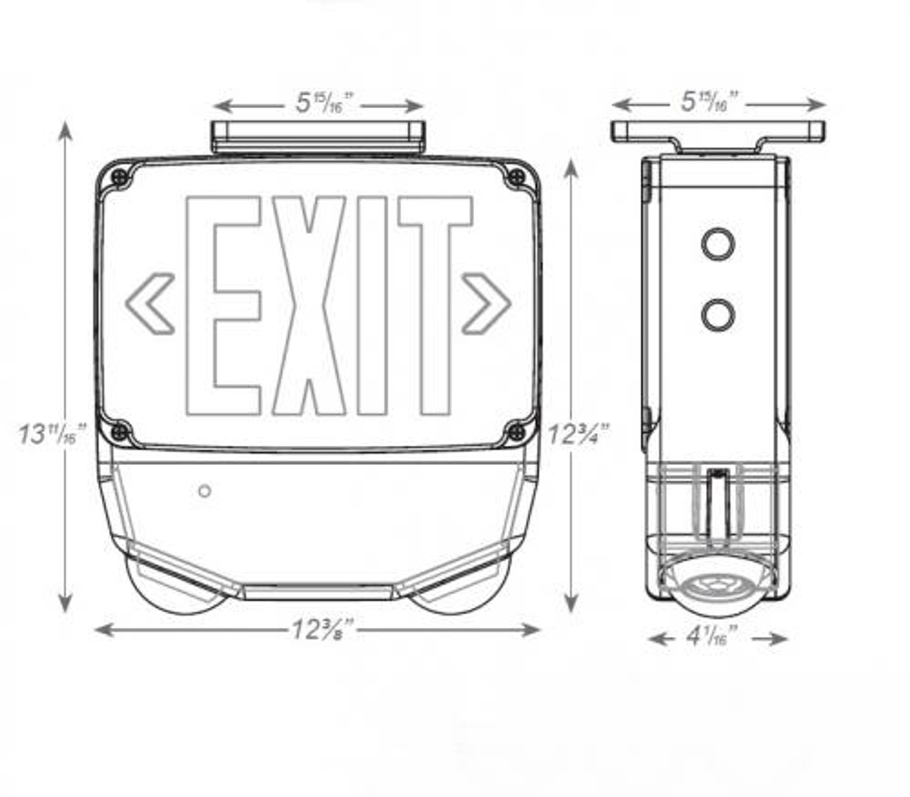 Wet Location LED Exit & Emergency Combo Dimensions