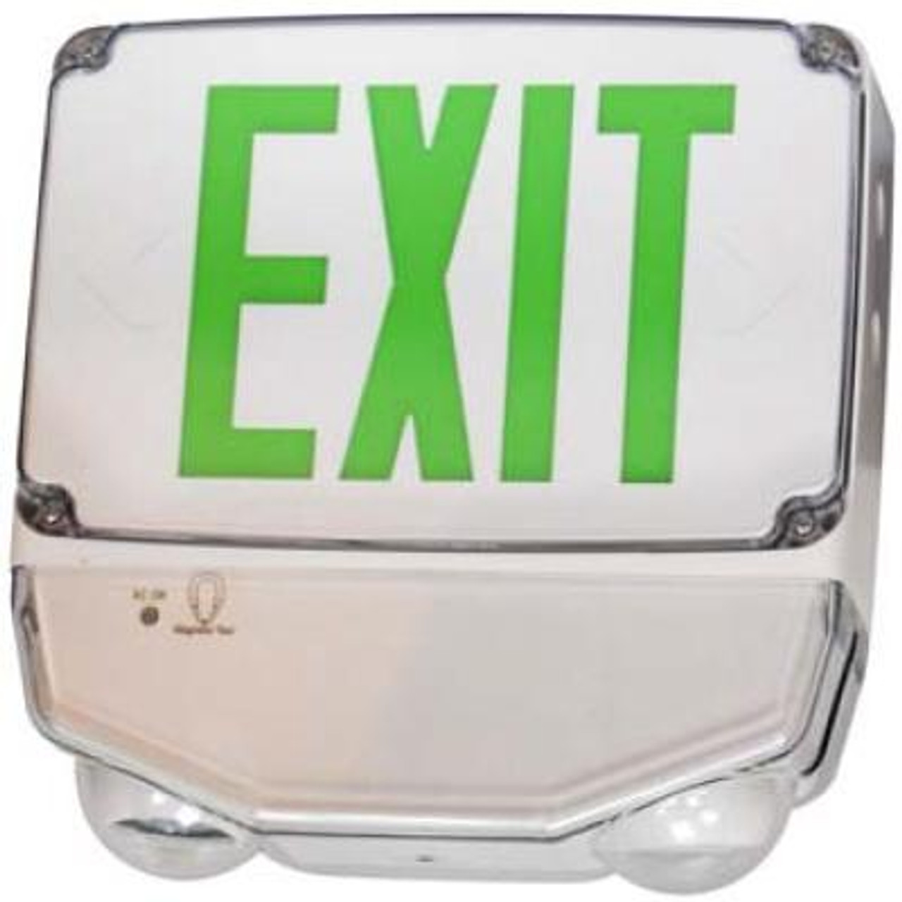 Wet Location LED Exit & Emergency Combo Green Letters