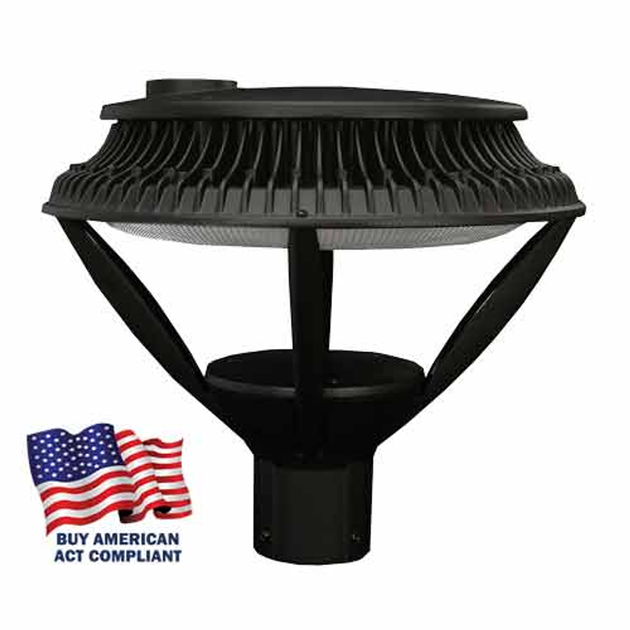 Open 84 Watt LED Round Post Top Street Light Buy America Act