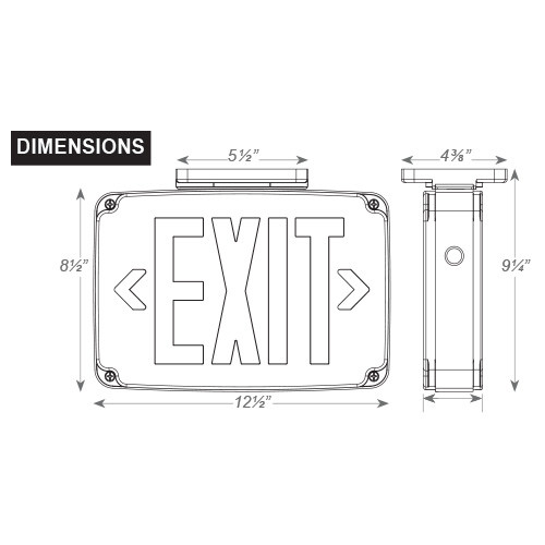Wet Location LED Battery Backup Exit Sign Single Face Dimensions