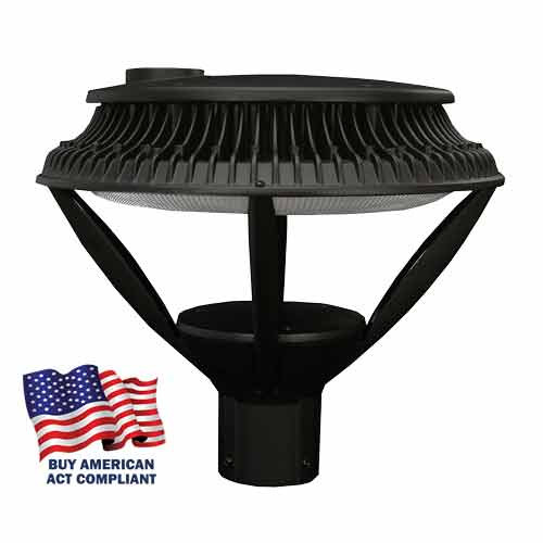 Open 84 Watt LED Round Post Top Street Light Buy America Act