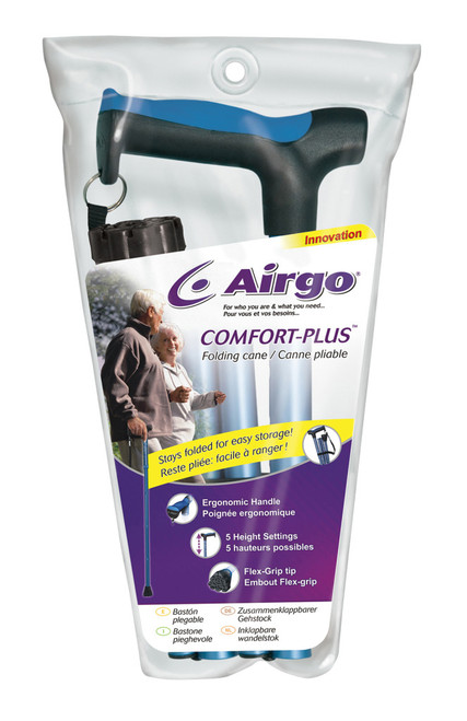 Airgo Comfort-Plus Folding Cane in Package.