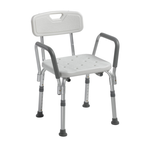 Knock Down Bath Bench with Back and Padded Arms